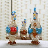 Family Originality Plump Ceramic Glazed Rooster Arts