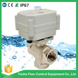 Dn15 1/2′′ Nickel Plated Brass Electric Motorized Motorised 3 Way Ball Valve