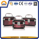 Maroon Crocodile Cosmetic Makeup Train Case (HB-2024)
