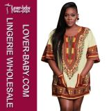 Lady Short Sleeves African Printed Dress (L28068-3)