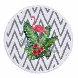 Flower Leaf Design Round Microfiber Beach Mats Outdoor Shawl Floor Mats