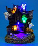 "Resin Halloween Decoration 6"" LED Ghost House with 5 LED Lights"