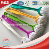 Long Plastic Handle Soft Bristle Fiber Easy Cleaning Household Dish Kitchen Cleaning Brush Hand Tool
