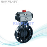 New Products on China Market PVC Double Flange Viton Seat Butterfly Valve with Spindle and Pneumatic Operated