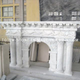 Carved Surround White Marble Stone Fireplace Mantel for Indoor / Outdoor