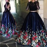 Long Sleeves Evening Gown Printing Flora Pageant Prom Dresses T21486