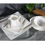 New Style White Square Gold Line Dinnerware