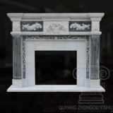 Popular Design Hunan White and Green Hand-Carved Marble Fireplace, Mantel