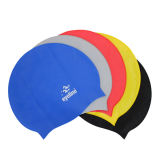 Durable Logo Printed Unisex Red/Blue/Pink/Red Silicone Rubber Swimming Cap for Adult