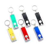 Wholesale Promotion Gift Custom Zinc Alloy 2D 3D Colorful Logo Printing Popular Simple Light Keychain LED ABS Button Flashlight Key Chain Souvenir Gift (039)