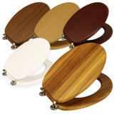 BSCI Certified Wooden Toilet Seat with PVC Coating and Soft Close Hinges