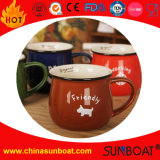 Logo Printed Wide-Mouth Enamel Mug/Enamel Jar Milk Cup