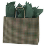 Green Gingham Printed Shoppers colorful Kraft Paper Shopping Bag Customized Paper Bag