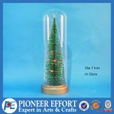 Christmas Glass Cloche Nat Base Tree with LED Lighting for Christmas Decoration