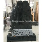 Granite Custom Fish Sculpted Monument Wit Water Wave Carving