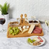 Bamboo Cheese Board, Charcuterie Platter Serving Tray with 4 Stainless Steel Knife Thick Wooden Server - Fancy House Warming Gift