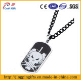 Custom Metal Name Dog Tag with Black White Skull Logo