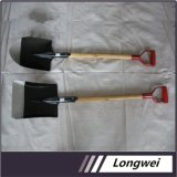 Saudi Arabia Market Hand Tool Carbon Steel Shovel with Brown Wooden Handle