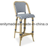 Bar Furniture Rattan Outdoor High Bar Stool with Black Legs