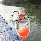 Double Seats Ocean Cheap Transparent Clear Fishing Plastic Canoe Kayak for Amusement Park
