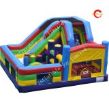 8X6m Custom Make Interactive Challenge Inflatable Obstacle Course Type Jumping House with Slide Combo