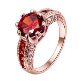 Luxury Rose Gold Plated with Red Zircon Ring for Fashion Women