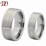 Tungsten Crosses Ring Crosses Engaved Tungsten Ring Pipe Cut Tungsten Ring