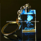 3D Laser Rose Crystal Personalized Glass Keychain