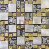 Gold Color Modern Design Stainless Steel Mix Glass Mosaic (CFM1014)