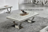 Living Room Furniture Alternative White Marble & Black Tempered Glass Top Stainless Steel Coffee Table
