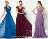Cap Sleeves Bridesmaid Gown Lace Back Evening Dress EV09