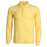 Factory Wholesale Long Sleeve Singe Jerseys Cotton Blouse Men's Polo Shirt