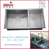 60/40 Square Handmade Sink with Under Mount Installation (3318)