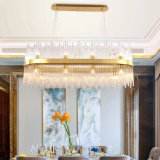 Luxury Modern Home Decorative Pendant Light Gold Rectangle Crystal Chandeliers (WH-AP-89)