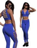 2017 Latest Design Custom Fitness Sports Bra Set with Straps