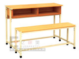 Wooden School Furniture Double Student Desk and Chair