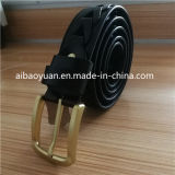 Hollow Hole Leather Belt and Thick Gold Buckle