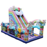 Aoqi Design Macaron Inflatable Rainbow Unicorn Castle Slide for Party
