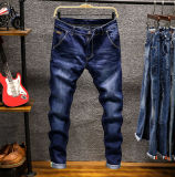 Men's Cotton Stretch Classic Basic Fashion Slim Fit Stone Wash Blue Denim Jean