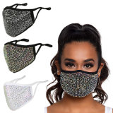 Black Fabric Cloth Custom Wahable Mouth Nose Fashion Dust Reusable Bling Rhinestone Face Mask Crystal Ski 2021 Rhinestone Mask with Filter Pouch Adjustable