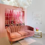 Hotel Living Room Event Fabric Sofa Shell Pleated Shaped Chair Metal Legs Couch