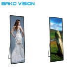Floor Standing Lightweight LED Mirror Poster Display Screen with Wheel