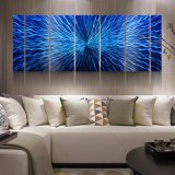 Blue 3D Abstract Metal Oil Paintings Modern Interior Wall Arts Decor 100% Handmade