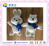 White Plush Sochi Bear and Rabbit Stuffed Olympic Mascots