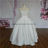 Strapless Simple Satin Bridal Dress with Detachable Train