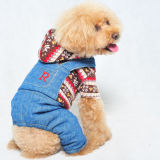 Knitted Dog Clothes Warm Jeans Pet Jumpsuit
