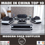 Living Room Genuine Leather Sofa with Coffee Table
