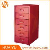 Home and Office Furniture Red 6 Drawers Movable Metal Filing or Storage Cabinet