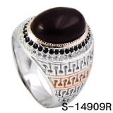 New Design 925 Silver Jewelry Agate Men Ring with CZ Stone.