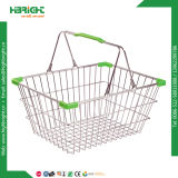 Metal Wire Mesh Shopping Basket with Double Handles (HBE-B-19)